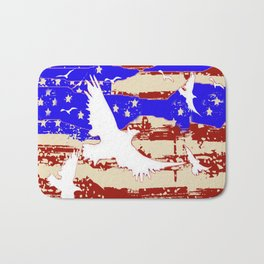 AMERICANA FLAG & WHITE EAGLES FROM  SOCIETY6 BY SHARLESART. Bath Mat