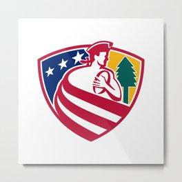 American Patriot Rugby Shield Metal Print