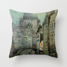 London's St Pauls and Ludgate Hill - Oil Painting, London, England Townscape by Godwin Bennett Throw Pillow