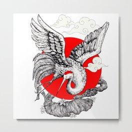 Japanese Red crowned Crane Metal Print