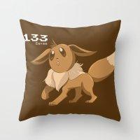 eevee Throw Pillows featuring Pkmn #133: Eevee by Michelle Rakar