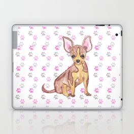 Cute Chihuahua Puppy in Watercolor and Paw Prints Laptop & iPad Skin