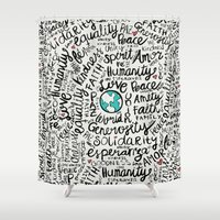 positive Shower Curtains featuring Positive Messages by Pom Graphic Design