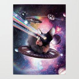 Universe Hairless Cat On UFO Lazer Poster