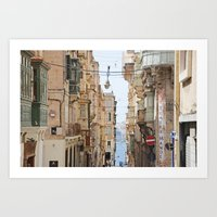 Balconies of Malta Art Print