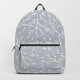 Botanical, Twigs and Leaves, Floral Prints, Light Gray Backpack