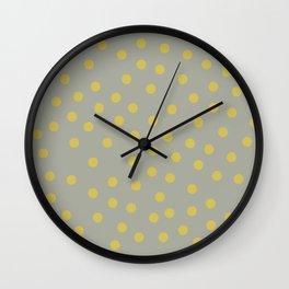 Simply Dots Mod Yellow on Retro Gray Wall Clock