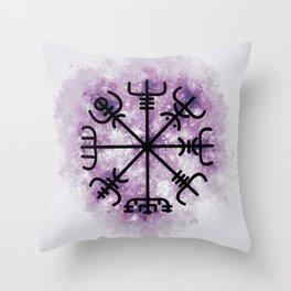 VEGVISIR Nordic sign post compass wayfinder Purple Throw Pillow