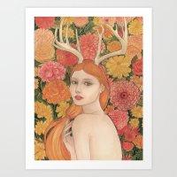 dahlia Art Prints featuring Dahlia by Marcela Badolatto
