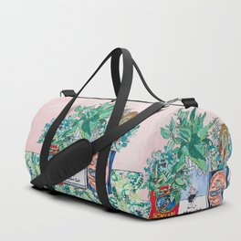 Jungle Botanical in Colorful Cans on Pink - Still Life Duffle Bag