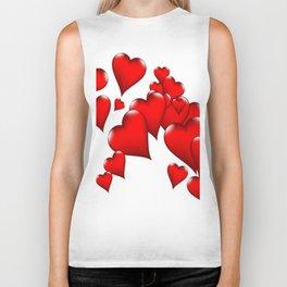 MODERN ART RED VALENTINES HEART  DESIGN Biker Tank