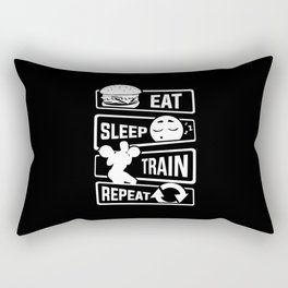 Eat Sleep Train Repeat - Fitness Bodybuilder Power Rectangular Pillow