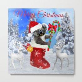 Baby Koala Christmas Cheer Metal Print