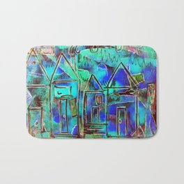 Neon Blue Houses Bath Mat