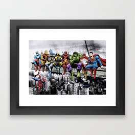 Superhero Lunch Atop A Skyscraper Framed Art Print
