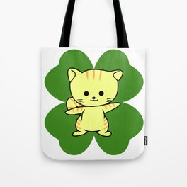 Cat On Four Leaf Clover - St. Patricks Day Funny Tote Bag