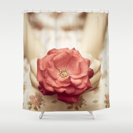 Rose in her hands III Shower Curtain