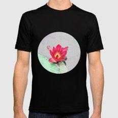 art style pretty pink waterlily flower  MEDIUM Black Mens Fitted Tee