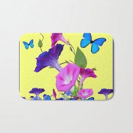 Blue Purple Morning Glories Butterfly Art Noveau Bath Mat