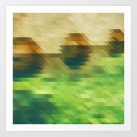 Green yellow triangle pattern, lake  Art Print