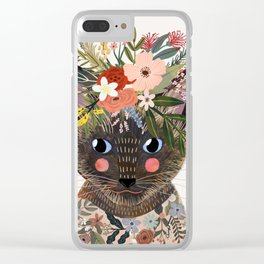 Siamese Cat with Flowers Clear iPhone Case