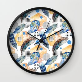 Geometrical blue yellow watercolor bohemian feathers Wall Clock