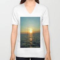 fishing V-neck T-shirts featuring FISHING by aztosaha
