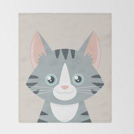 Grey Tabby Cat Throw Blanket