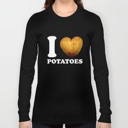 I Love Potatoes print | Cute Potato Vegan Butcher Gift Long Sleeve T-shirt