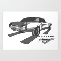 mustang Art Prints featuring Mustang by Mister Abigail