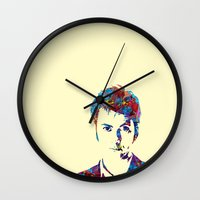david tennant Wall Clocks featuring David Tennant - Doctor Who by lauramaahs