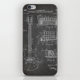 Gibson Guitar Patent - Les Paul Guitar Art - Black Chalkboard iPhone Skin