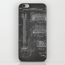 Gibson Guitar Patent - Les Paul Guitar Art - Black Chalkboard iPhone Skin