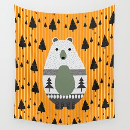 Cute bear, stripes and a fir forest Wall Tapestry