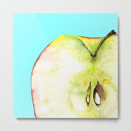Apple on Aquamarine Metal Print