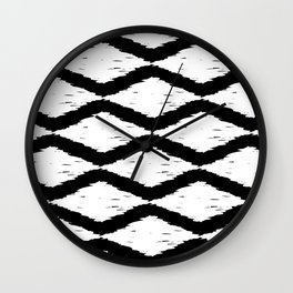 Black and White Tribal Ikat Pattern Wall Clock