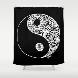 Black and White Lace Yin Yang Shower Curtain