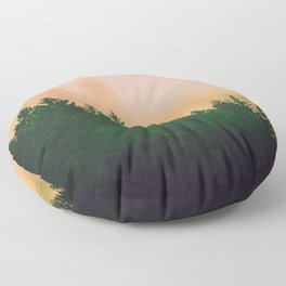Cascadia Green Trees and Sunset Floor Pillow