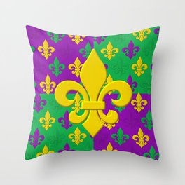 Mardi Gras Fleur-de-Lis Pattern Throw Pillow