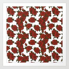 americana: red rose Art Print