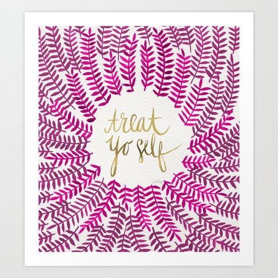 Treat Yo Self – Pink & Gold Art Print