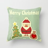 merry christmas Throw Pillows featuring Merry Christmas by Cs025