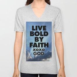 Live Bold By Faith xoxo God Unisex V-Neck