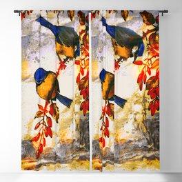 Happy Little Snow Birds (Winter Painting) Blackout Curtain