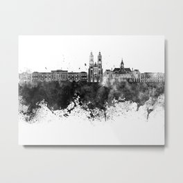 Tours skyline in black watercolor Metal Print