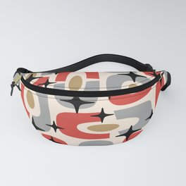 Mid Century Modern Cosmic Abstract 129 Red Gray Gold Black and Beige Fanny Pack