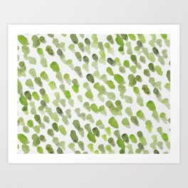 Imperfect brush strokes - olive green Art Print