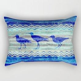 Rustic Navy Blue Coastal Decor Sandpipers Rectangular Pillow