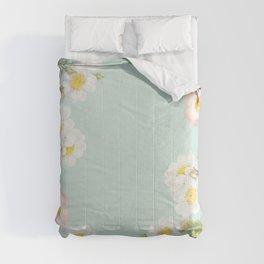 Vintage Sepia White Dog Redouté Roses Frame Comforters