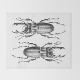Vintage Beetle black and white Throw Blanket